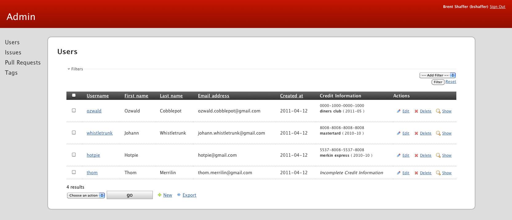Hadori Screenshot for the List View